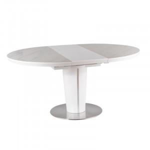 Masa dining extensibila alb/gri din MDF si ceramica 120(160) cm Orbit Signal Meble