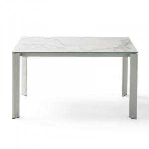 Masa dining extensibila din otel si ceramica 90x(140)200 cm Lisa Grey Kallos White Somcasa