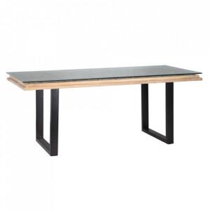 Masa dining gri/neagra din lemn de mango 90x200 cm Ecouis Denzzo