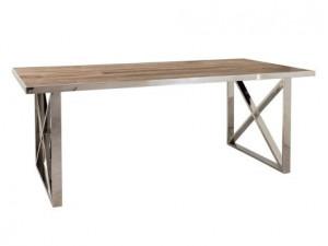 Masa dining maro/argintie din lemn si inox 100x240 cm Redmond Cross Big Richmond Interiors