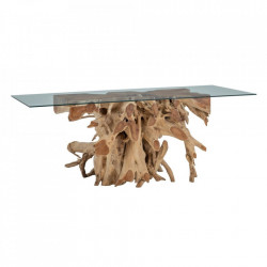 Masa dining maro din sticla si lemn de tec 100x200 cm Cassillis Denzzo