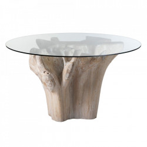 Masa dining maro din sticla si lemn de tec 140 cm Durridgere Denzzo