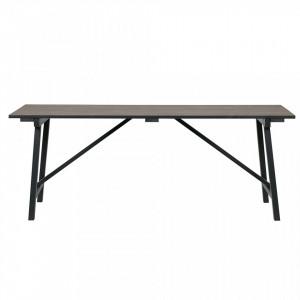 Masa dining maro/neagra din lemn de pin 90x200 cm Derby Woood