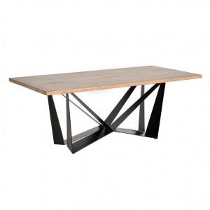 Masa dining maro/neagra din lemn de salcam si metal 100x200 cm Amos Giner y Colomer