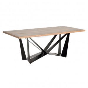 Masa dining maro/neagra din lemn de salcam si metal 90x160 cm Amos Giner y Colomer