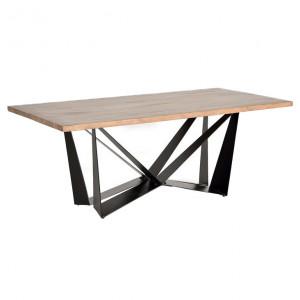 Masa dining maro/neagra din lemn de salcam si metal 90x180 cm Amos Giner y Colomer