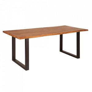 Masa dining maro/neagra din lemn de salcam si otel 90x180 cm Mammut Invicta Interior