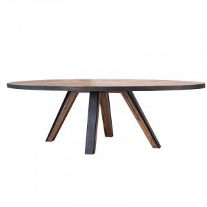Masa dining maro/neagra din lemn de stejar si metal 115x250 cm Macon Lifestyle Home Collection