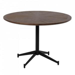 Masa dining maro/neagra din lemn si fier 110 cm Sara Denzzo
