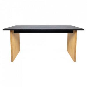 Masa dining maro/neagra din PAL si lemn 90x200 cm Stripe Woodman
