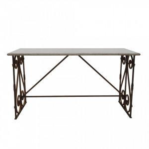 Masa dining neagra din metal 74x158 cm Shiven Creative Collection