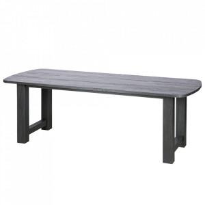 Masa dining negru din lemn stejar 90x220 cm Identity Be Pure Home