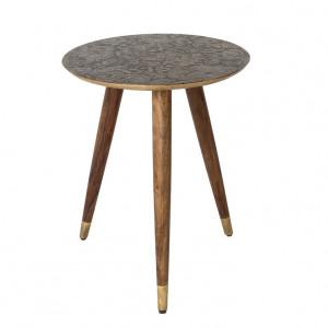 Masa rotunda pentru cafea lemn si alama Bast Dutchbone