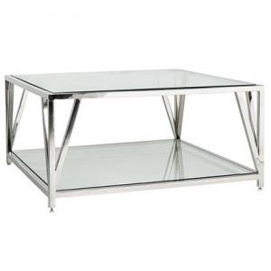 Masa transparenta/argintie din sticla si inox pentru cafea 100x100 cm Paramount Richmond Interiors