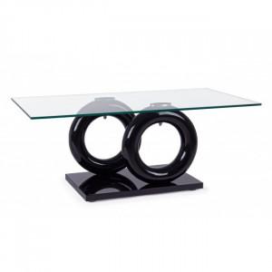 Masa transparenta/neagra din sticla pentru cafea 60x110 cm Julien Bizzotto