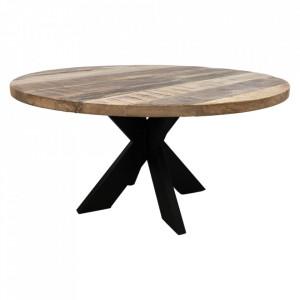 Masuta de cafea maro/neagra din lemn si fier 80 cm Terry HSM Collection