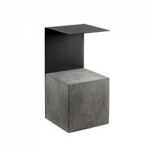 Masuta neagra din beton si otel 30x32 cm Obstacle Serax