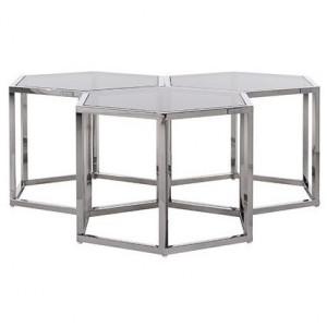 Masuta transparenta/argintie din sticla si inox pentru cafea 52x60 cm Penta Richmond Interiors
