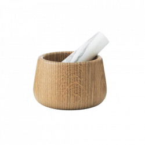 Mojar cu pistil maro/alb din marmura si lemn Craft Normann Copenhagen