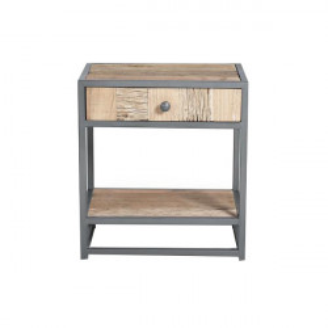 Noptiera gri/maro din lemn si metal Arvin Giner y Colomer