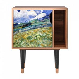 Noptiera multicolora din MDF si lemn Landscape From Saint-Rémy By Vincent Van Gogh Furny