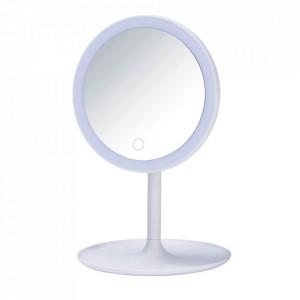 Oglinda cosmetica de masa cu LED rotunda alba din plastic 18x28 cm Turro Wenko