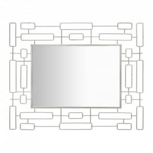 Oglinda dreptunghiulara argintie din fier 80x100 cm Ice Mauro Ferretti