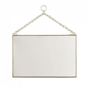Oglinda dreptunghiulara aurie din fier si sticla 20x30 cm Mlima Madam Stoltz