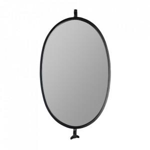 Oglinda ovala neagra din fier 31x48 cm Lara White Label