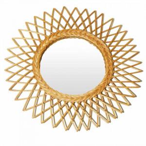 Oglinda rotunda crem din ratan 60 cm Garden Zago