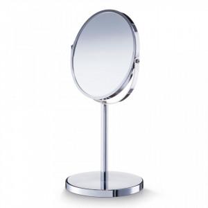 Oglinda rotunda de masa argintie din metal 17x35 cm Make-Up Zeller
