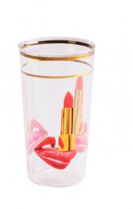 Pahar multicolor din sticla 7x13 cm Tongue Toiletpaper Seletti