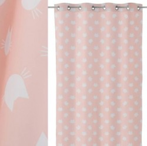 Perdea roz/alb din poliester 135x260 cm Cats Unimasa