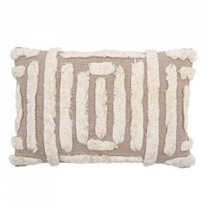 Perna decorativa dreptunghiulara crem din bumbac 40x60 cm David Creative Collection