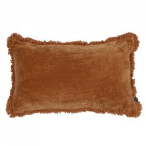 Perna decorativa dreptunghiulara maro din catifea 30x50 cm Trim Be Pure Home