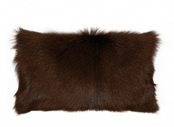 Perna decorativa dreptunghiulara maro inchis din blana si poliester 30x50 cm Goat Fur LifeStyle Home Collection