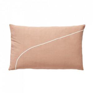 Perna decorativa dreptunghiulara roz/alba din bumbac 50x80 cm Derek Hubsch