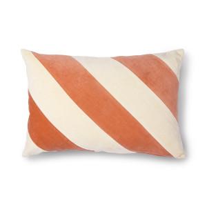 Perna decorativa dreptunghiulara roz/crem din catifea si bumbac 40x60 cm Peach HK Living