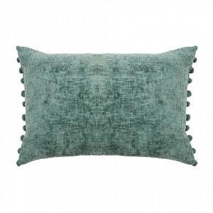 Perna decorativa dreptunghiulara verde din viscoza si bumbac 40x60 cm Eros Ocean Woood