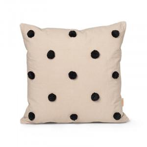 Perna decorativa patrata bej/neagra din bumbac 48x48 cm Dot Tufted Ferm Living
