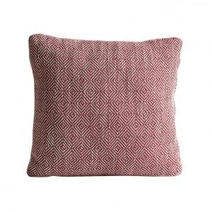Perna decorativa patrata rosie din textil 43x43 cm Diamond Woud