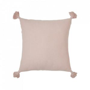 Perna decorativa patrata roz prafuit din bumbac organic 40x40 cm Herringbone Cam Cam
