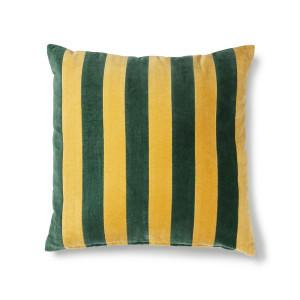 Perna decorativa patrata verde/mustar din catifea si bumbac 50x50 cm Cindy HK Living