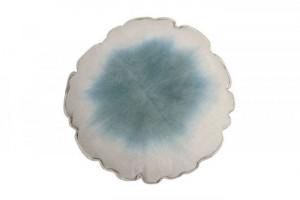 Perna decorativa rotunda albastra din bumbac 40 cm Tie Dye Vintage Blue Lorena Canals