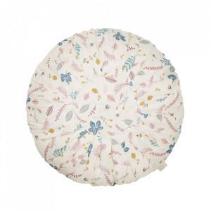 Perna decorativa rotunda multicolora din bumbac organic 40 cm Pressed Leaves Rose Cam Cam