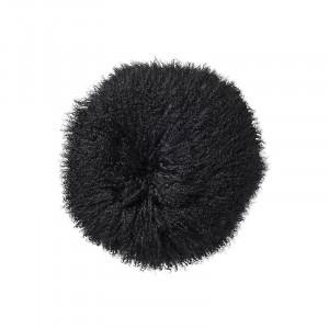 Perna decorativa rotunda neagra din blana de miel si poliester 35 cm Julianne Bloomingville