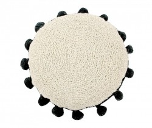 Perna rotunda crem/negru din bumbac pentru podea 48 cm Circle Black Lorena Canals