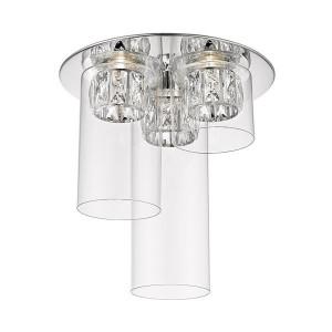 Plafoniera argintie/transparenta din metal si sticla cu 3 LED-uri Gem Zuma Line