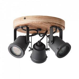 Plafoniera maro inchis/neagra din lemn si metal cu 3 becuri Inge Brilliant