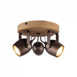 Plafoniera maro/neagra din lemn si metal cu 3 becuri Tool Brilliant